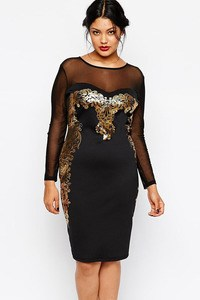 2015-Women-Plus-Size-Dresses-XXL-Floral-Applique-Black-Sexy-Mesh-Insert-Bodycon-Sheath-Party-Midi