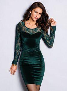vestido-fiesta-manga-larga-terciopelo-con-encaje-verde-botella
